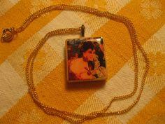 Scrabble Tile Necklace with Art Nouveau Woman (Pink)