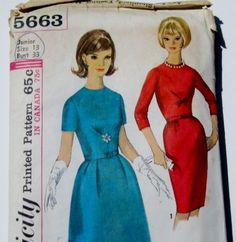 1960s Dress Pattern: Paris Fashion Simplicity 5663, Mad Men Dress