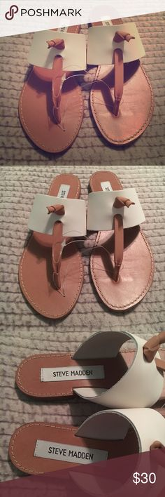 New! Steve Madden White Olivia Leather Sandals White Steve Madden Olivia sandals, new without box. Never worn, just no box. I've read that these run small, so though they're a 5.5, they may fit more like a 5! Steve Madden Shoes Sandals