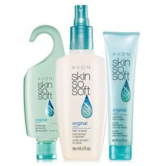 SKIN SO SOFT Original - 3 piece moisturizing set, $10 in Campaign 15. www.deannasbeautyshop.com #avon #sale #skinsosoft