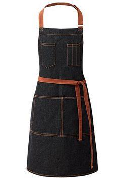 Black Denim Long Waist Apron - Little Tailor Studio Cafe Uniform, Cafe Apron, Restaurant Uniforms, Waist Apron, Sewing Aprons, Bib Apron, Business Dresses, Barista, Refashion