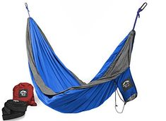 Camping Hammock with Upgraded Straps  Carabiners 2 Each  100 Parachute Nylon  PatentPending Design for Easier TakeDown  PackUp by NCal Outfitters BlueSilver Double >>> Read more  at the image link. (This is an Amazon affiliate link and I receive a commission for the sales and I receive a commission for the sales)