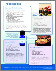 Food Recipes for Essential Oils.  Pico de Gallo.  Chicken.