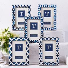 Santorini Indigo Photo Frames Five assorted patterns. Five Resin/MDF. Dimensions (in):From 5 x 7 By Twos Company - Twos Company is a giftware company focused on creating inn Blue Picture Frames, Seashell Frame, Chevron Frames, Photo Frame Design, Wall Design, Garden Frame, Two's Company, Frame Stand