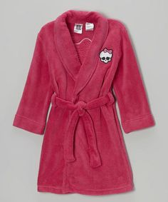 Pink Monster High Skull & Bow Robe - Girls by Komar Kids on zulily