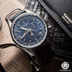 The beautiful blue dial on this Zenith El Primero Annual Calendar Chronograph.