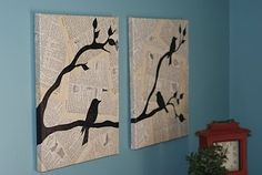 Decoupage book pages or newspaper onto a canvas and then draw silhouettes of birds on top. Love it!