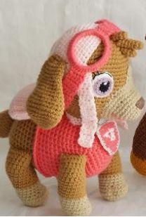 Crochet Amigurumi Free Patterns, Crochet Toys, Paw Patrol, Patron Crochet, Crochet For Kids, Doll Patterns, Diy And Crafts, Crochet Eyes, Paw Patrol Skye