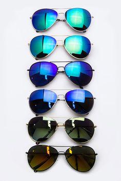 Mirror Tinting Aviator Sunglasses (  Colors)