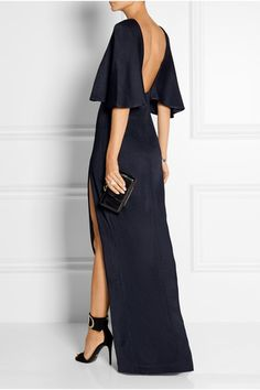 Cushnie et Ochs | Open-back stretch-satin jersey maxi dress | NET-A-PORTER.COM
