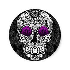 Fancy Sugar Skull Day of the Dead Sticker