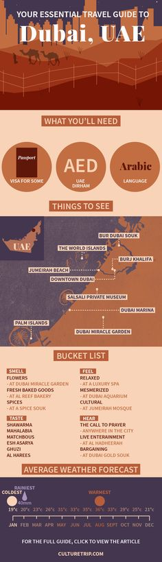 The Essential Travel Guide to Dubai (Infographic) | Dubai, Island, weekend break, Asia, bucket list, wanderlust, adventure, challenge, coffee, bar, food, must try, Summer, Beach