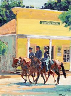 Patrolling Calhoun Street, Old Town San Diego, acrylic painting on canvas by RD Riccoboni®, one of America's favorite cultural heritage artists.  From The Beacon Artworks Gallery Collection at Fiesta de Reyes in  Old Town San Diego State Historic Park.