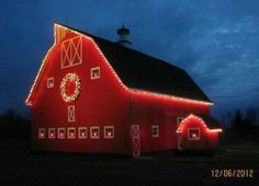 Country christmas, lights on barn. Country Christmas, Outdoor Christmas, Christmas Lights, Red Christmas, Christmas Time, Christmas Lodge, Hallmark Christmas, Christmas Pictures, Christmas Cards