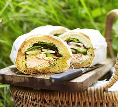 This pressed sandwich is perfect for picnics- along with flaked fish it's stuffed with radishes, cucumber, dill and mustard mayonnaise
