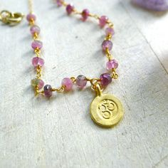 Pink Tourmaline Minimalist Rosary Necklace with Om Pendant by 137point5