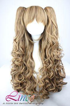 70cm-60cm-Long-Multi-Color-Beautiful-lolita-wig-Anime-Wig mix color wigs
