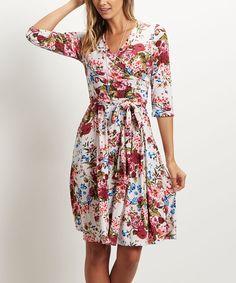 Cream Floral Surplice Dress