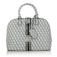 Guess Tasche – G Cube Dome Satchel Black – in weiß, grau, schwarz – Henkeltasche für Damen