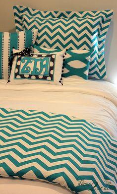 Turquoise Chevron Designer Dorm Room Bedding Set | Dorm Bedding. Save on your dorm decor with AllPosters, Dormify, Walmart, target and more at http://studentrate.com/School/Deals/DormRoom.aspx