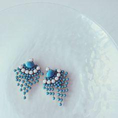 Vintage turquoise fringe earrings | chouchou