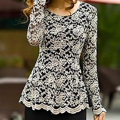 WeiMeiJia® Women's Round Neck All Matching Lace Shirt - USD $ 14.99