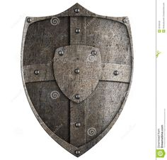 medieval shields | Medieval metal shield isolated on white.