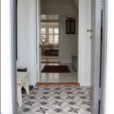 Scandinavian Home, Decor, Tiled Hallway, House, Home, Front Door, Front Entry Doors, Cool Rooms, Shabby Chic Beach
