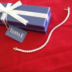 H/P pic 4 Girly girl party 3/22/15.SALE TENNIS BRACELET FROM VANNA K. THIS IS STERLING SILVER .925 stamped W/DOUBLE CLASP ARMS. ALSO BEAUTIFUL SPARKLING CZ's 13.8 GRAMS❤️ VANNA K  Jewelry