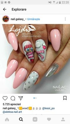 Santa Nails, Xmas Nails, New Year's Nails, Holiday Nails, Christmas Nails, French Manicure Gel Nails, Gel Nail Art, Cute Nails, Pretty Nails