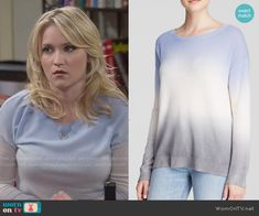 Gabi's blue and grey ombre sweater on Young and Hungry.  Outfit Details: http://wornontv.net/51224/ #YoungandHungry