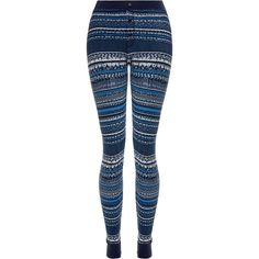 e55e9ff5fefcb Splendid Navy Bowery Street Patterned Thermal Leggings ( 67) ❤ liked on Polyvore  featuring pants