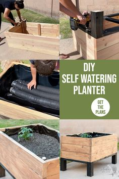 Learn how to make your own self watering planter for container gardening. This raised garden bed self watering planter DIY will remember to water your garden when you don't! #raisedgardenbed #containergarden #AnikasDIYLife Kreg Jig Projects, Easy Woodworking Projects, Diy Projects, Project Ideas, Raised Planter, Raised Garden Beds, Diy Planters, Planter Boxes, Diy Self Watering Planter