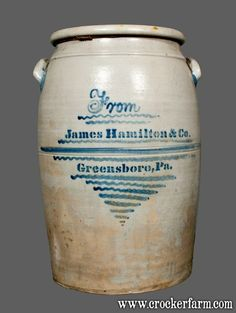 "Important Twenty-Gallon Stoneware Presentation Jar with Profuse Cobalt Freehand and Stenciled Decoration, Stenciled ""JAMES McCLURE,"" Reverse Inscribed ""From James Hamilton & Co. / Greensboro, PA,"" circa 1875"