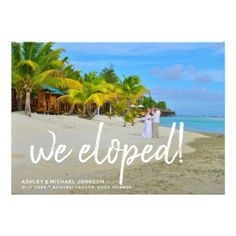 We Eloped   4 Photo Wedding Announcement - invitations personalize custom special event invitation idea style party card cards