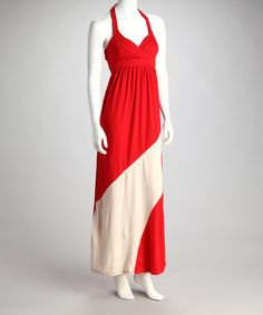 $18.99  Take a look at this Red & Beige Diagonal Stripe Halter Maxi Dress by Ami Sanzuri on #zulily today!
