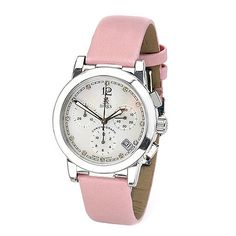 Birks Chronograph Watch Collection for Her, Stainless Steel Round Watch with Mother of Pearl Dial and Pink Satin Strap
