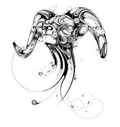 si scott illustration black and white ram