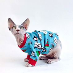 Cat Clothes Cat Sweater with Penguins. Holiday pet Costume Beat ...
