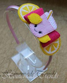 Limonada rosada arco accesorio limonada limón arco pelo Clip