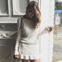 vestido para batizado de tricot