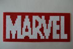 MARVEL logo hama beads (32 x 14 cm) by Crea-perles-82