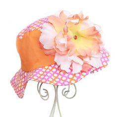 Orange and Pink Print Sun Hat-Orange and Pink Print Sun Hat,girls sun hat,childs summer hat,baby hat,peony flower sun hat,kids hat,jamie rae hat