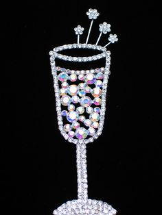 """WEDDING NEW YEARS EVE PARTY CELEBRATION DRINK WINE CHAMPAGNE GLASS PIN BROOCH 5"""" #Unbranded #PINBROOCHJEWELRY"""