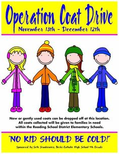 """We are happy to be a drop off point for """"Operation Coat Drive"""". New or gently worn coats will be collected and distributed locally to help keep kids warm this winter. If you are able to donate, please bring a coat along to your next appointment; now through December 12th. Thank you! It is our wonderful patient, Seth Stankiewicz's efforts and caring that put this worthy organization together!"""