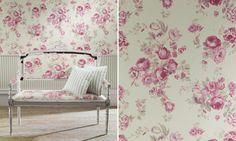 papel de parede com tecido floral