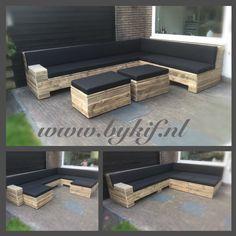 Lounge hoekbank steigerhout