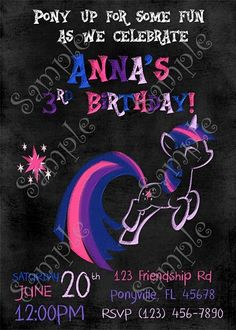 My Little Pony Twilight Sparkle Birthday Invitation and thank you card
