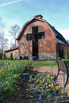 Rev. Billy Grahams Library Designed Like A Barn With Huge Cross Window