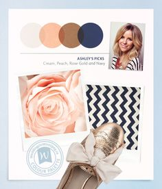 Your colors? peach, cream, rose gold, navy blue
